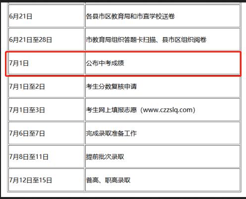 2019年湖南郴州中考查分时间:2019年7月1日