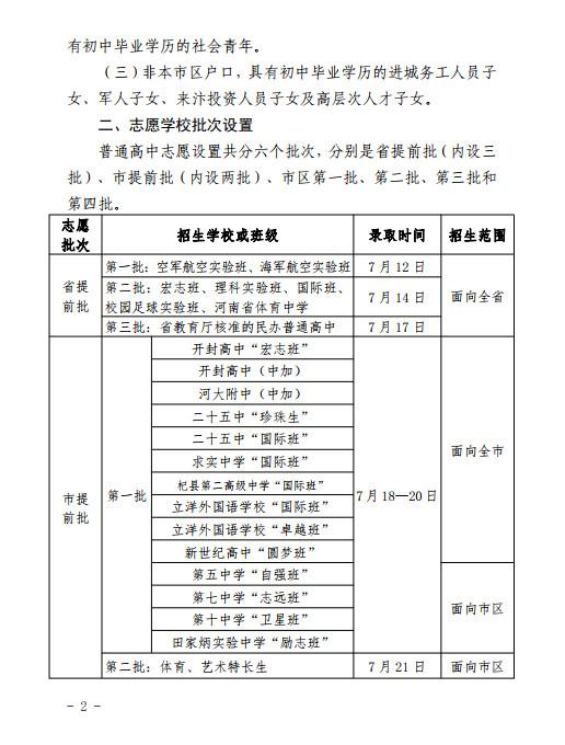 2019年中考河南�_封市市�^普通高中招生方案