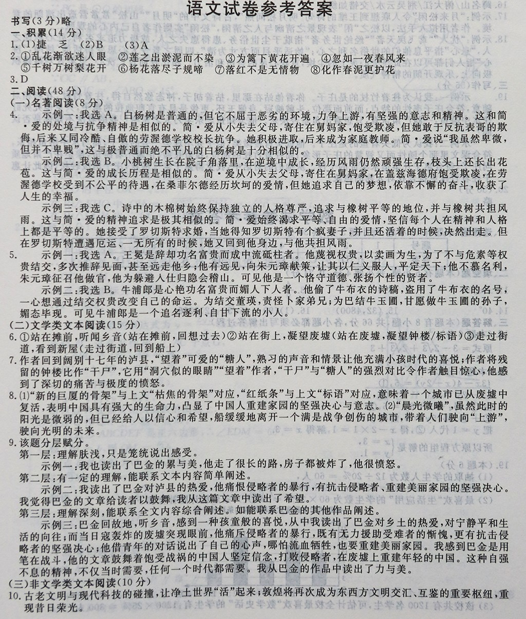 2019年浙江丽水中考语文真题参考答案