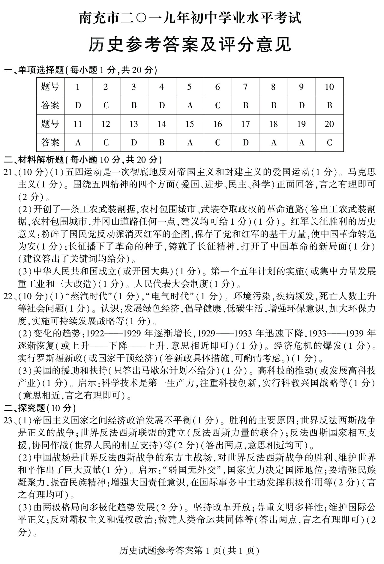 2019年四川南充中考历史真题参考答案