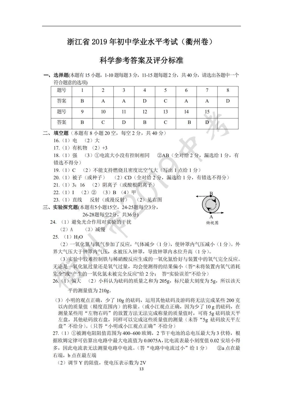 2019年浙江衢州中考科学真题参考答案