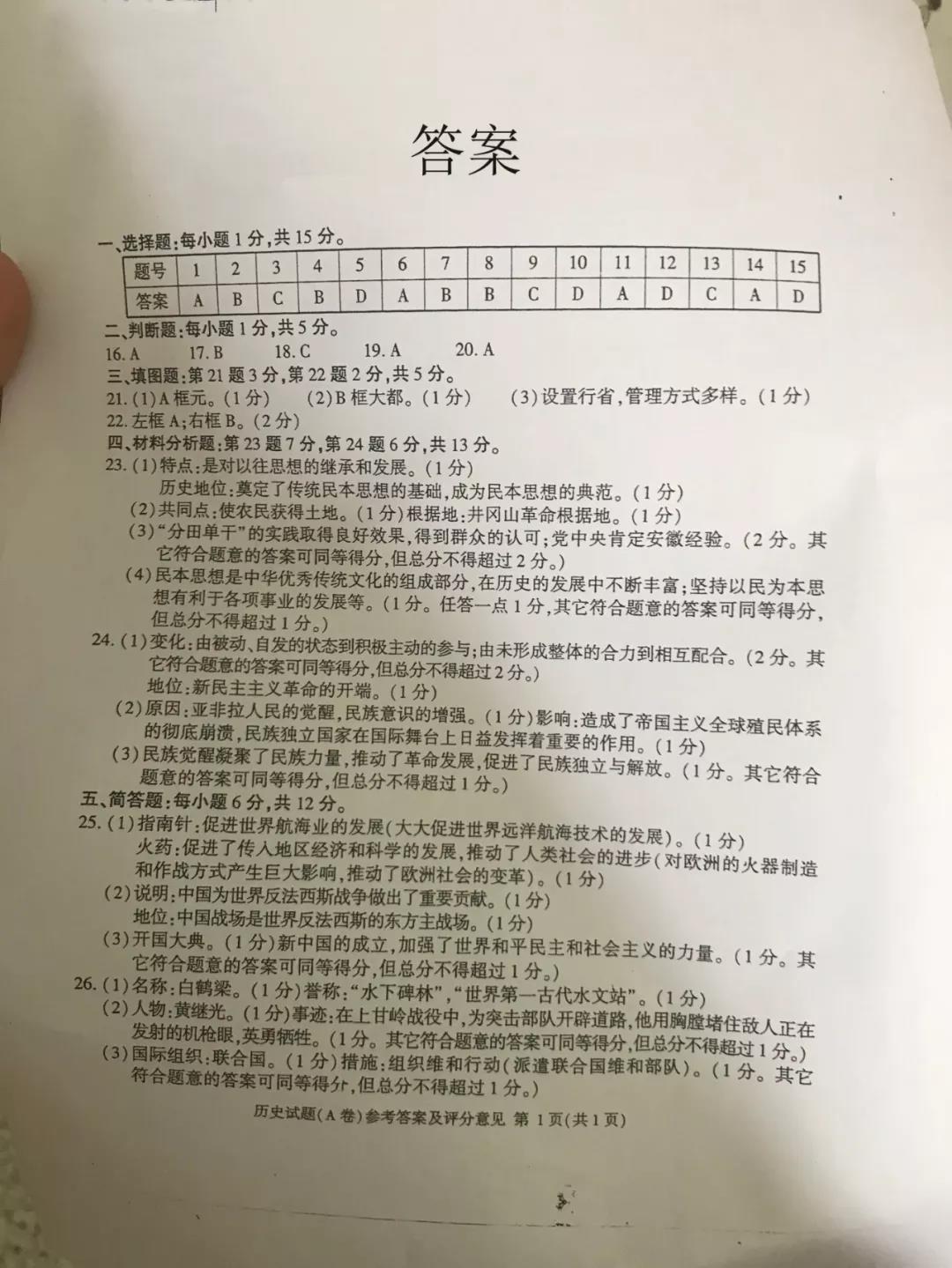 2019年重庆市中考历史A卷真题参考答案 下载版