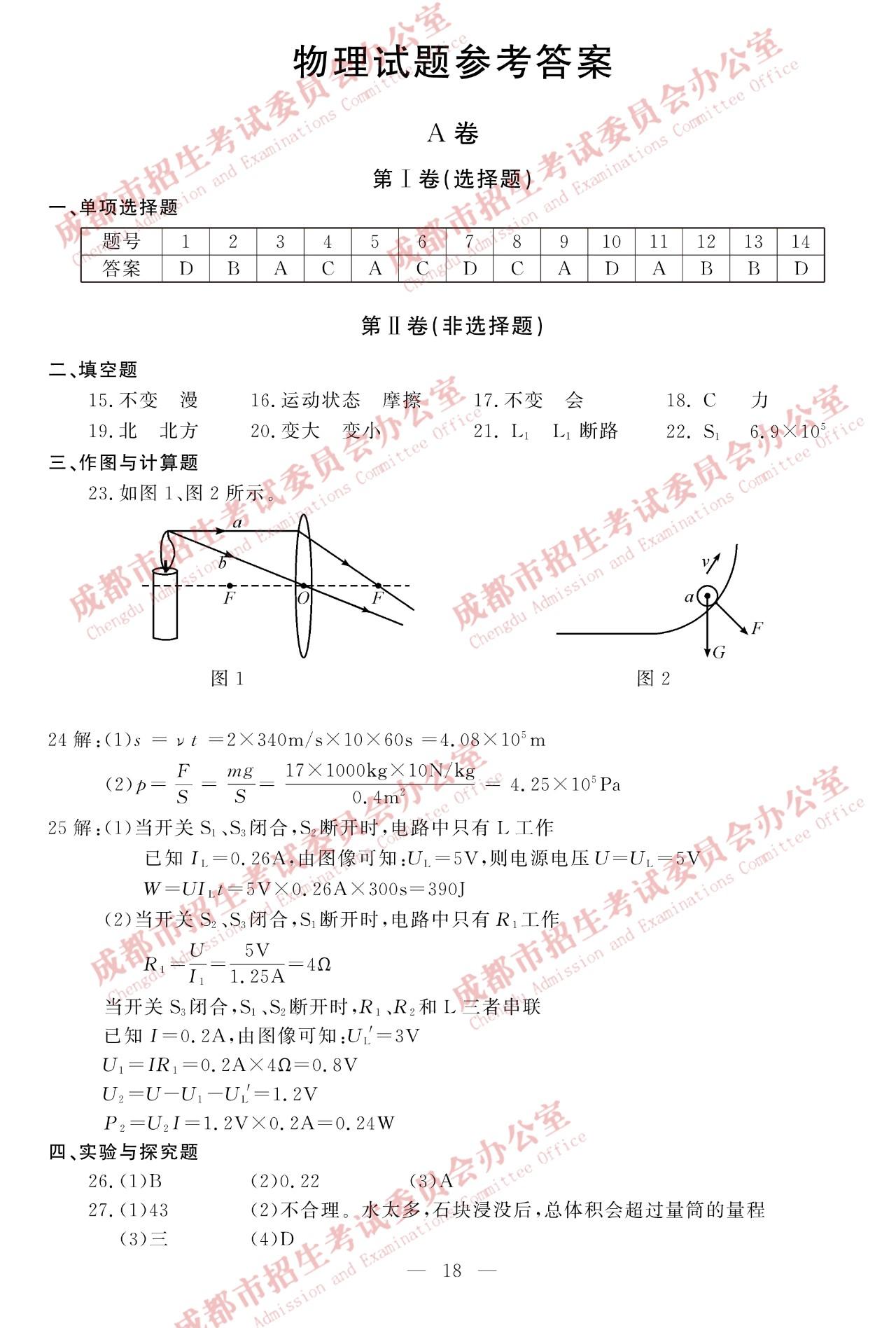 2019年四川成都中考物理真题参考答案