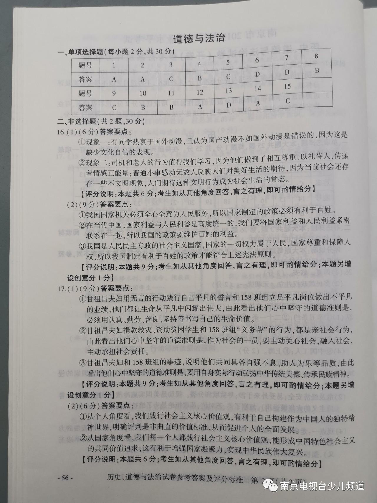 2019年江苏南京中考政治真题参考答案