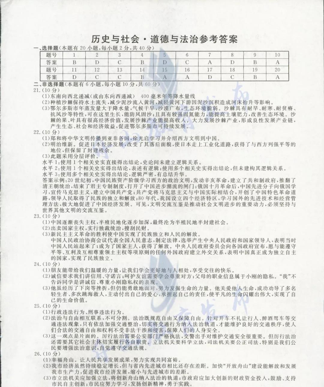 2019年浙江舟山中考历史与社会・道德与法治真题参考答案