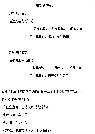 2019年衡阳中考作文:想写你的名字