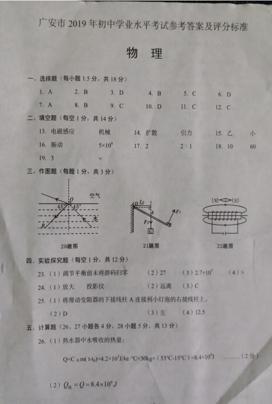 2019年四川广安中考物理真题参考答案