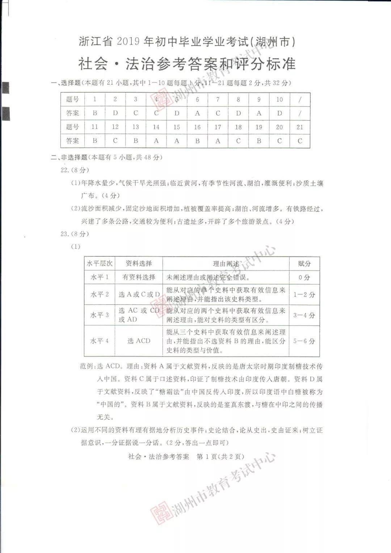 2019年浙江湖州中考社会.法制真题参考答案