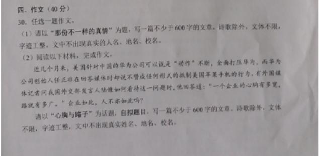 2019年广安中考作文:那份不一样的真情
