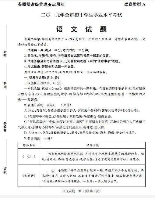 2019年山东聊城中考语文真题