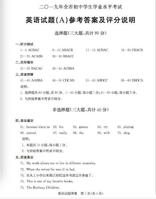 2019年山东聊城中考英语真题参考答案