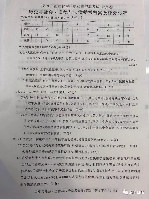 2019年浙江台州中考历史与社会.道德与法治真题参考答案