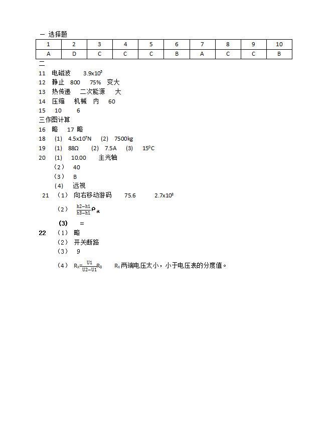 2019年江苏宿迁中考物理真题参考答案