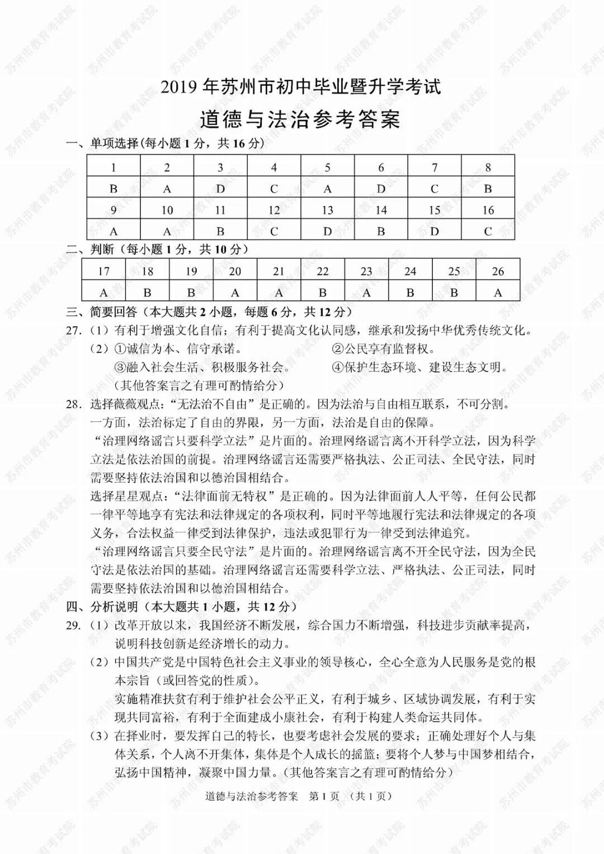 2019年江苏苏州中考政治真题参考答案