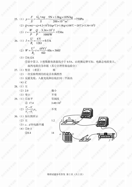 2019年江苏苏州中考物理真题参考答案