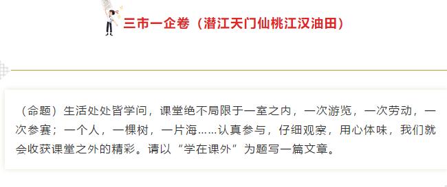 2019年湖北三市一企卷中考作文:�W在�n外