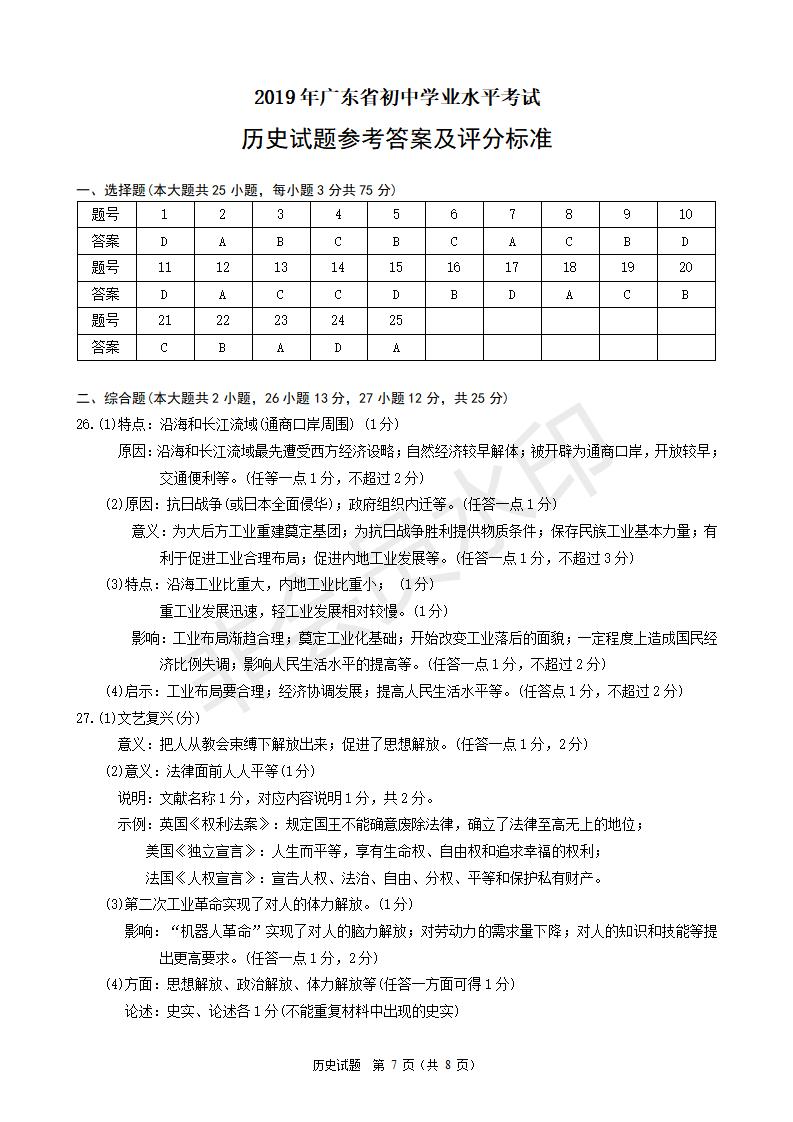 2019年广东中考统考历史真题参考答案