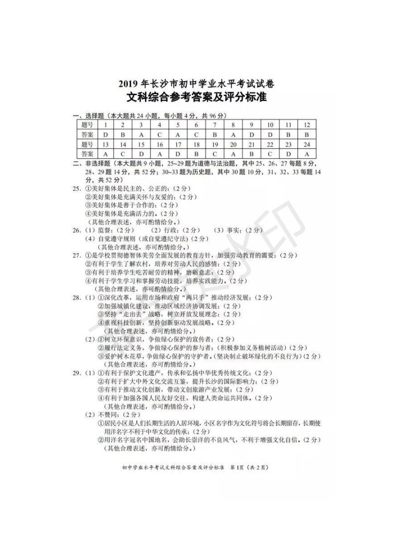 2019年湖南长沙中考历史真题参考答案