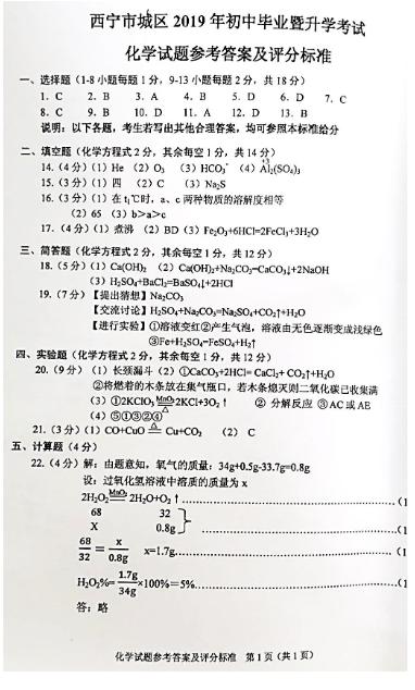 2019年青海西宁市中考化学真题参考答案