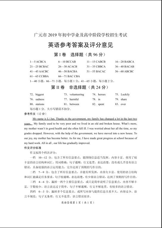 2019年四川广元中考英语真题参考答案
