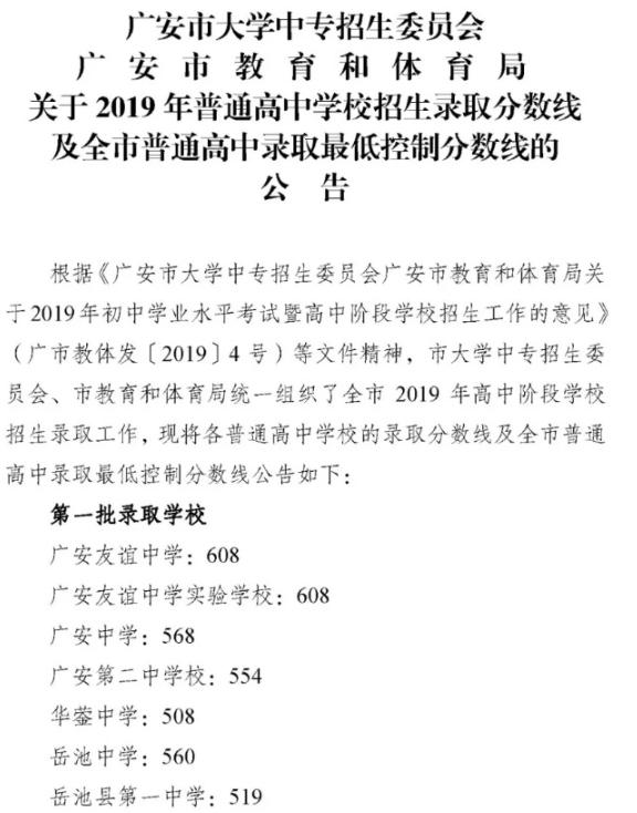 2019年四川广安中考各高中录取分数线
