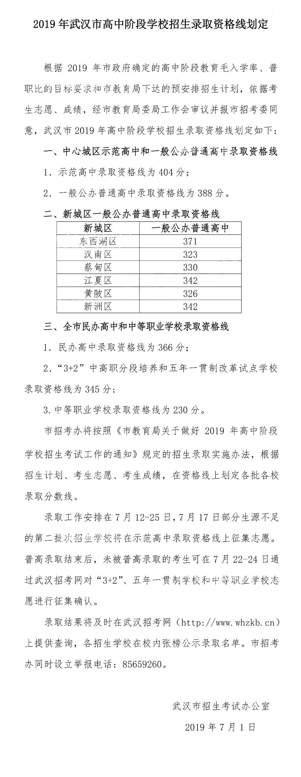 2019年湖北武汉中考普通高中录取分数线公布