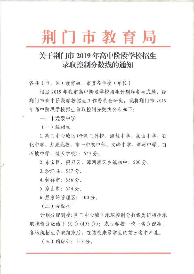 2019年湖北荆门中考各高中录取分数线公布