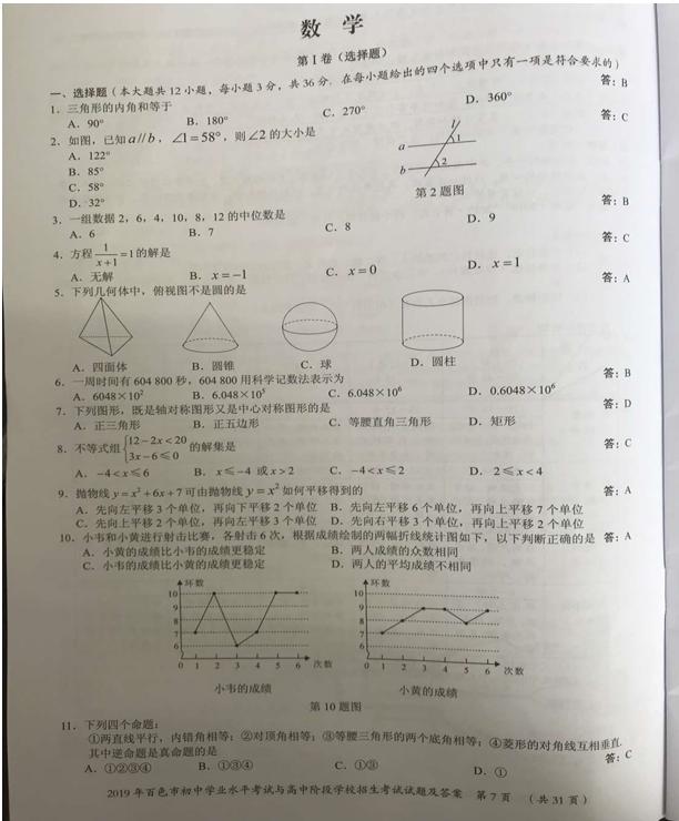 2019年�V西百色中考��W真�}(�D片版)