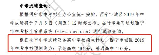 2019年青海西宁市中考招生录取分数线