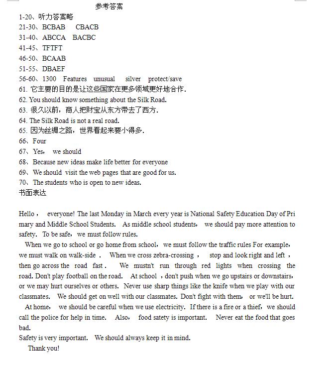 2019年湖南邵阳中考英语真题答案(图片版)
