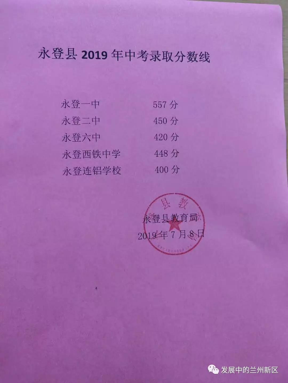 2019年甘肃兰州永登县中考录取分数线