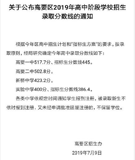 2019年广东肇庆高要区中考高中录取分数线