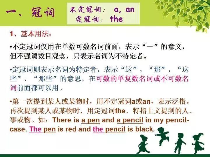沈阳小学英语语法知识点分类:冠词1