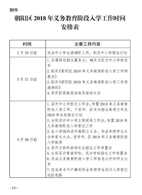 2018年北京朝阳区义务教育入学工作安排时间表