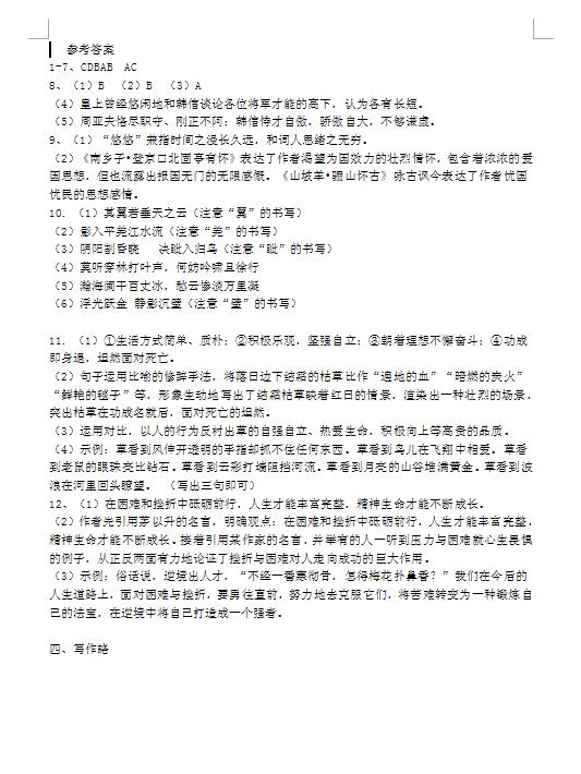 2019年四川宜宾中考语文真题答案(图片版)
