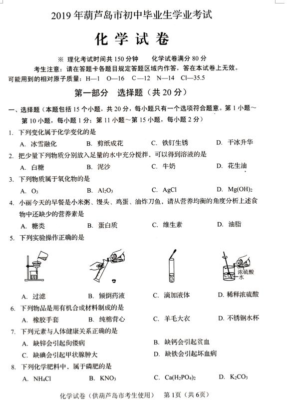 2019年辽宁葫芦岛中考化学真题(图片版)