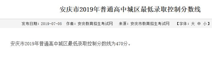 2019年安徽安庆中考高中招生录取最低分数线
