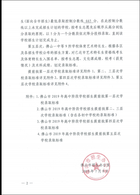 2019年广东佛山市中考高中学校提前批录取分数线