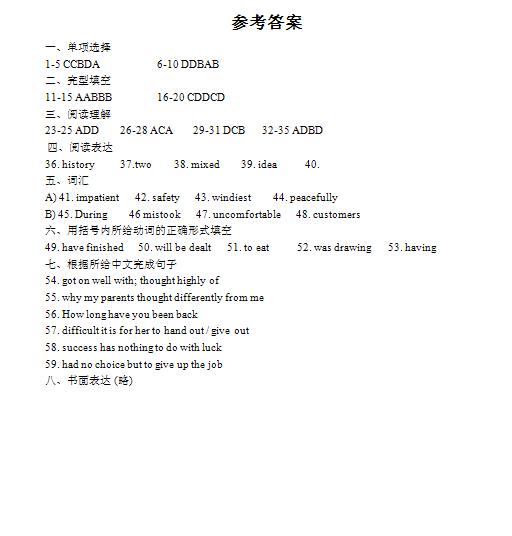 2019年江苏常州中考英语真题答案(图片版)