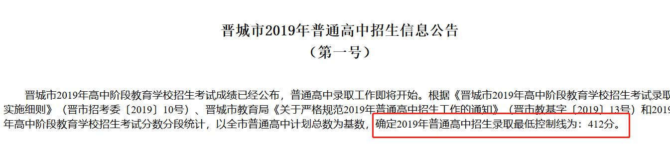 2019年山西晋城市中考高中学校最低录取分数线