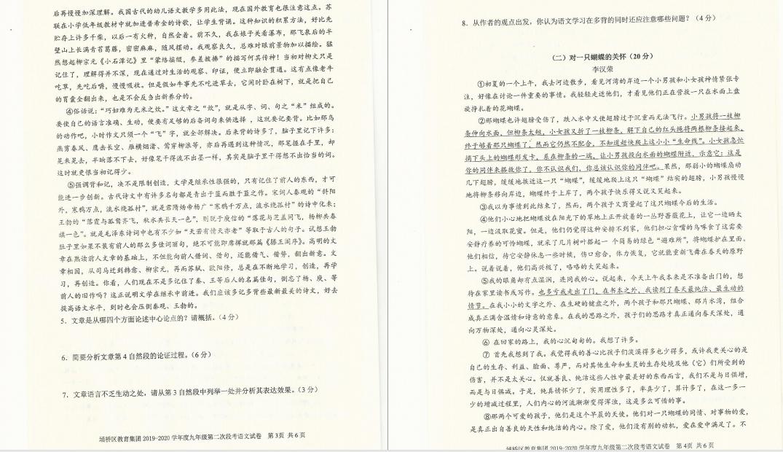 安徽宿州埇桥区教育集团2019-2020学年初三语文试卷(图片版)