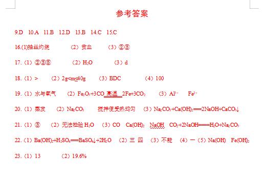2020年陕西中考化学模拟试题答案