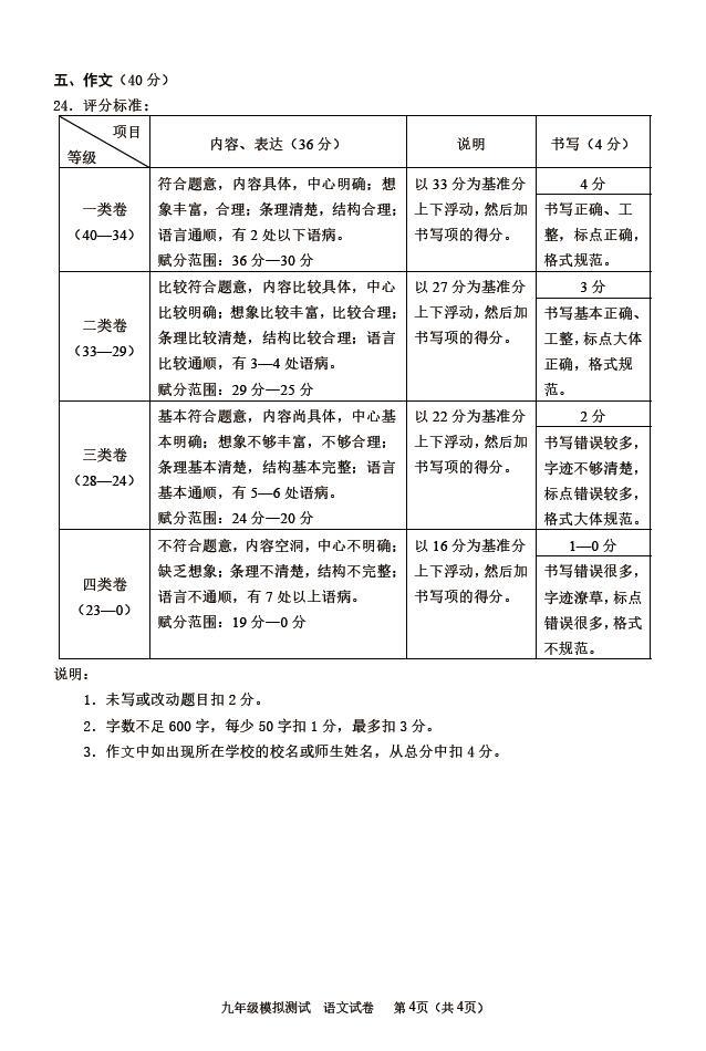 2020年北京市西城区中考二模语文试卷答案(图片版)