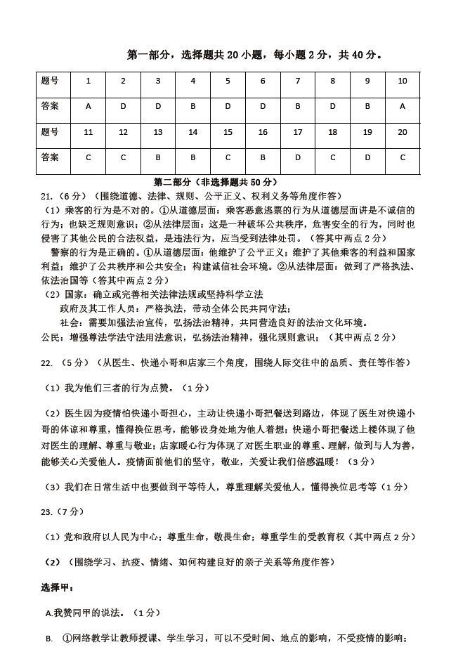 2020年北京市顺义区中考二模政治试卷答案(图片版)