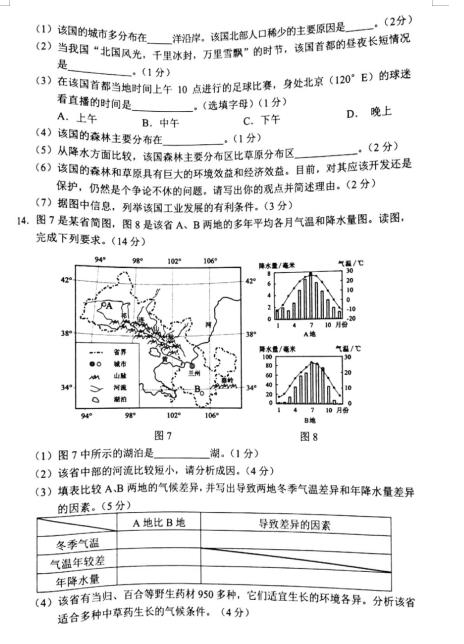 2020年内蒙古包头中考地理真题(已公布)