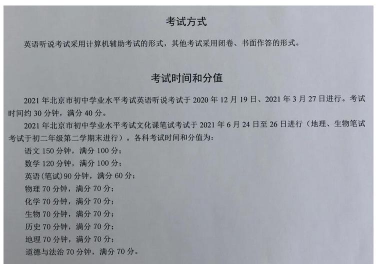 2021年北京中考各科分值解读